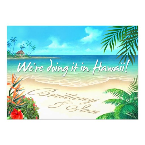 Exotic Beach Hawaiian wedding get names in sand Personalized Invite