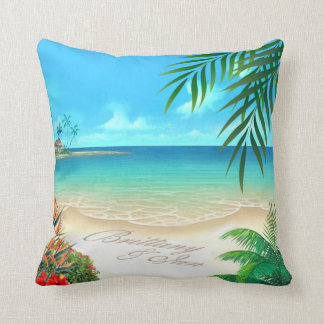 Exotic Beach Tropical ask me to add names in sand Cushion