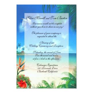 """Exotic Beach Wedding """"Faux Vellum"""" Invitation"""