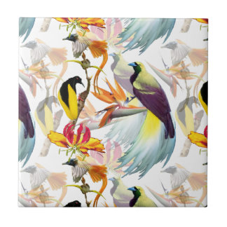 Exotic Birds of Paradise and Flowers Watercolor Ceramic Tile