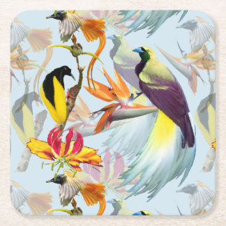 Exotic Birds of Paradise and Flowers Watercolor Square Paper Coaster
