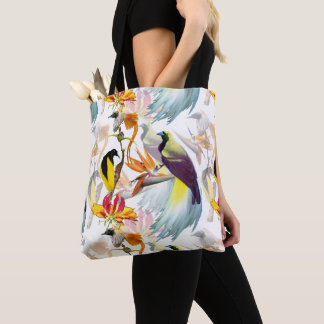 Exotic Birds of Paradise and Flowers Watercolor Tote Bag