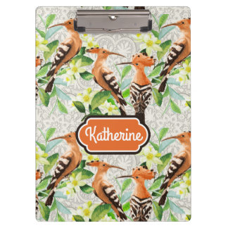 Exotic Birds On Lace | Add Your Name Clipboards