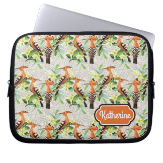 Exotic Birds On Lace | Add Your Name Laptop Computer Sleeve
