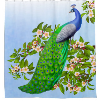 Exotic Blue Indian Peacock Shower Curtain