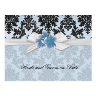 Exotic Blue Plumeria Damask Save date card Postcard