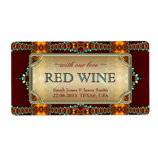 Exotic Bohemian Eastern Wedding Wine Labels