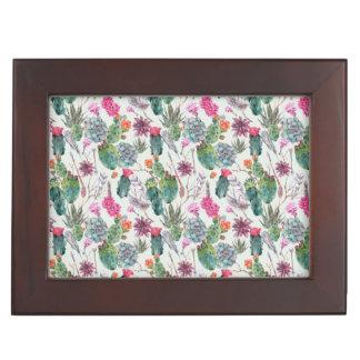 Exotic Boho Watercolor Cactus & Succulent Pattern Keepsake Box