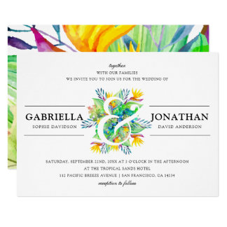 Exotic Bouquet & Modern Typography | Wedding Card