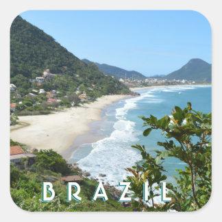 EXOTIC BRAZILIAN BEACH, BRAZIL COAST + MOUNTAINS SQUARE STICKER