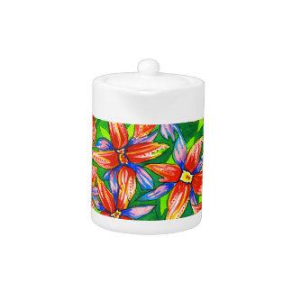 Exotic Bright Tropical Flower Watercolour Tea Pot