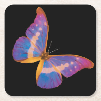 Exotic Butterfly in Shades of Violet Pink and Blue Square Paper Coaster