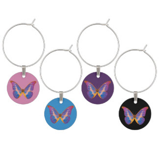 Exotic Butterfly Watercolor Set of 4 Wine Charms