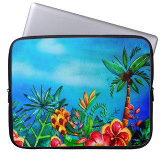 Exotic Colorful Flower Jungle - Aloha Laptop Sleeve