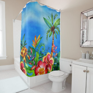 Exotic Colorful Flower Jungle - Aloha Shower Curtain