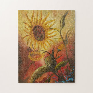 Exotic colorful sunflower abstract composition jigsaw puzzle