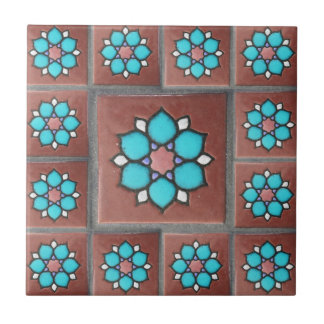 Exotic Copper & Aqua Flower Design Ceramic Tile