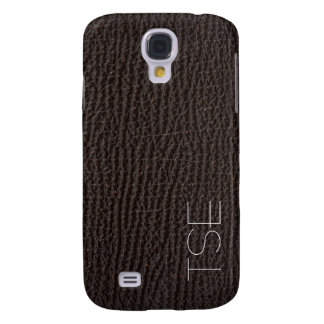 Exotic Deep Brown Leather Art Deco Monogram Samsung Galaxy S4 Case