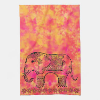 Exotic Eastern Elephant Tangle Doodle Pattern Hand Towel