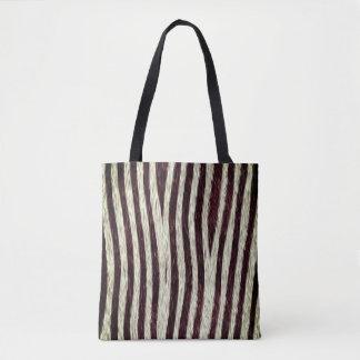 Exotic Faux Fur Zebra Stripes Animal Print Tote Bag