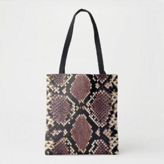 Exotic Faux Snake Skin Animal Print Tote Bag