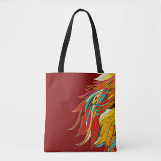 Exotic Feathers on Red Tote Bag