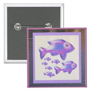 Exotic Fish FAMILY 15 Cm Square Badge