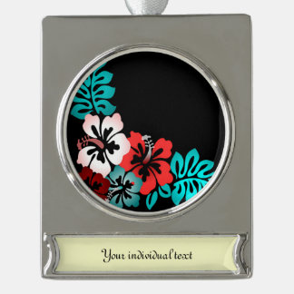 Exotic Floral Design Silver Plated Banner Ornament