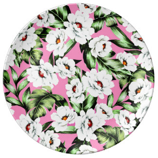 Exotic Flower Floral Pattern Plate
