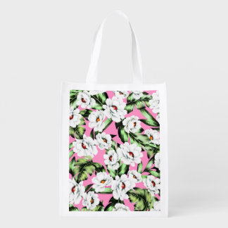Exotic Flower Floral Pattern Reusable Grocery Bag