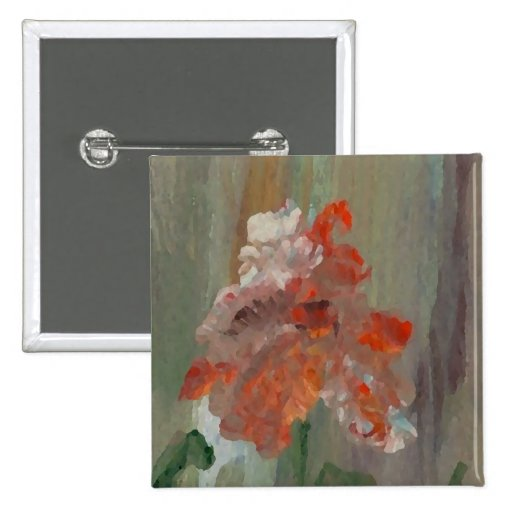 Exotic Flower Impressionist Abstract Floral Button