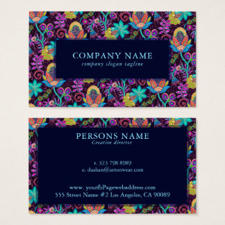 Exotic Flowers Pattern Glass-beads Texture Business Card