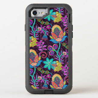 Exotic Flowers Pattern Glass Beads Texture Print OtterBox Defender iPhone 8/7 Case