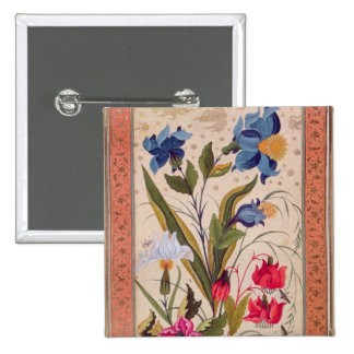 Exotic flowers with insects 15 cm square badge