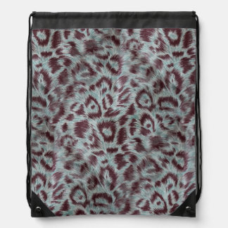 Exotic Furry Leopard Spots Dusty Blue Aubergine Drawstring Bag