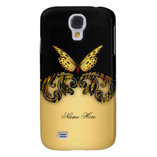 Exotic Gold Black Butterfly Galaxy S4 Cover
