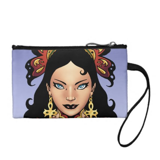 Exotic Gothic Queen with Ankh Earrings by Al Rio Coin Wallet