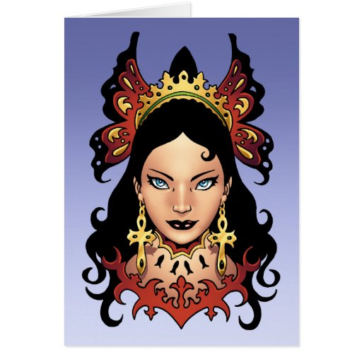 Exotic Gothic Queen with Ankh Earrings by Al Rio Card