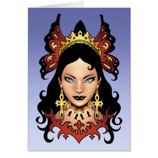 Exotic Gothic Queen with Ankh Earrings by Al Rio Greeting Card