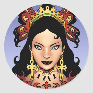 Exotic Gothic Queen with Ankh Earrings by Al Rio Round Sticker