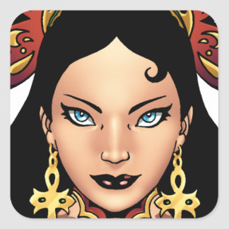 Exotic Gothic Queen with Ankh Earrings by Al Rio Square Sticker