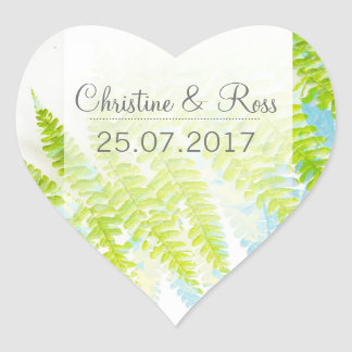 Exotic green fern leaves wedding sticker