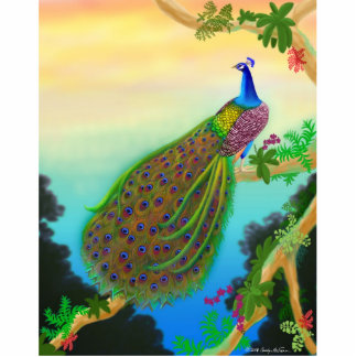 Exotic Green Peacock Pin Photo Sculpture