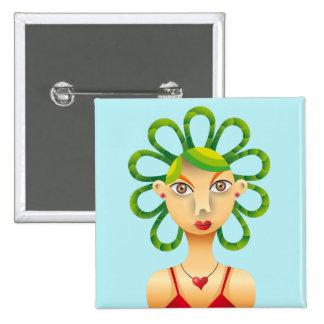Exotic hairdo 15 cm square badge