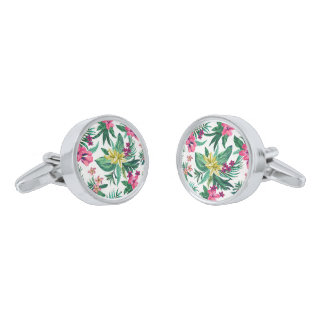 Exotic Hawaiian Colorful Flowers Silver Finish Cufflinks