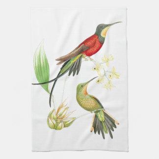 Exotic Hummingbird Bird Flowers Kitchen Towels