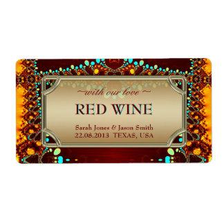 Exotic Indian Bohemian Wedding Wine Labels