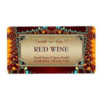 Exotic Indian Bohemian Wedding Wine Labels