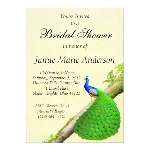 Exotic Indian Peacock Bridal Shower Invitation