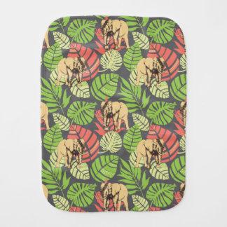 Exotic Jungle Leaves And Elephants Burp Cloth
